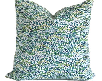 Outdoor pillow cover, Outdoor cushion, Blue outdoor pillow, Green outdoor pillow, Lumbar pillow, 12x16, 12x20, 16x16, 18x18, 20x20, 22x22