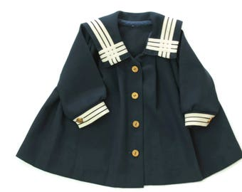 Vintage Infant Girls Classic Sailor Dress in Navy Blue and White