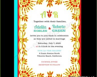 PAPEL PICADO Mexican Fiesta Wedding Invitations