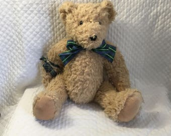 "North American Bear Co, Honeycomb Bear, 1991 Jointed Nubby Bear, Plaid Ribbon, 13"" Tall, 4065"