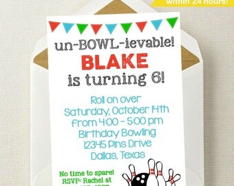 Bowling Invitation // Bowling Birthday Invitation // Bowling Invite // Boy Bowling Invitation // Stike // Bowling Birthday Party // Bowl