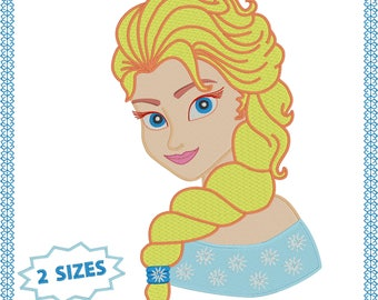 Elsa Frozen embroidery designs 2 sizes 5x7 and larger