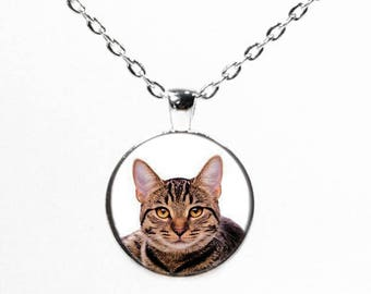 Round Silver Tabby Cat Photo Pendant Necklace - Cat Lover Gifts - Pet Photo Necklace - Cat Jewelry - I Love  Cats - Crazy Cat Lady
