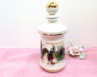 """STITZEL WELLER DECANTER is an Old Fitzgerald Collector's Gallery """"1970 South Carolina Tricentennial"""" Genuine Milk White Porcelain Decanter"""