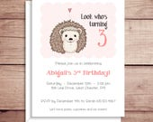 Party Invitations - Hedgehog Invitations - Birthday Party Invitations - Illustrated Invitations - Custom Invitations