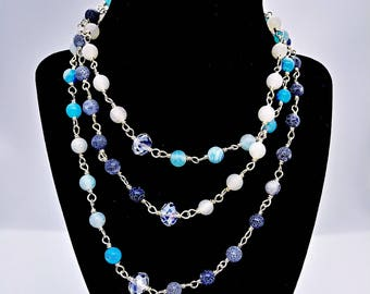 Agate and Crystal Rosary Style Wrap necklace