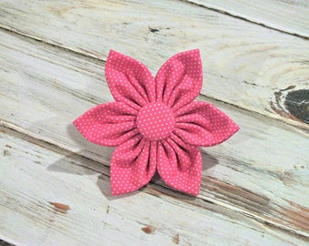 SALE Size Large, Ready to Ship Pink Pin Dot Flower for Dog collar, Cat collar, christmas