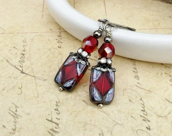 Red Earrings, Ruby Earrings, Red Dangle Earrings, Gunmetal Earrings, Czech Glass Beads, Gift Ideas for Women, Red Jewelry, Gunmetal Jewelry