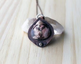 Crazy Lace Agate Pendant with Copper Leaves