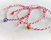 Marti Bracelet, Spring Bracelet, Red String Bracelet, Martakia, Easter Gift, Evil Eye, Cross Bracelet, Religious Bracelet, Greek Marti