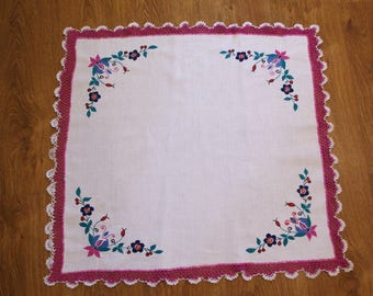 Kashubian hand embroidered table runner traycloth floral colourful Flowers Embroidery Serape Hand made White Table top flowery dresser scarf