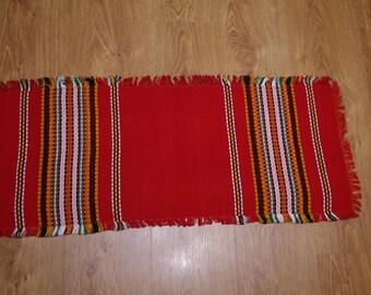 Ukrainian Rushnyk Red Multicolor Table runner Towel Woven Serape Dresser scarf Tapestry Table topper ethnic home rustic kitchen decor Boho