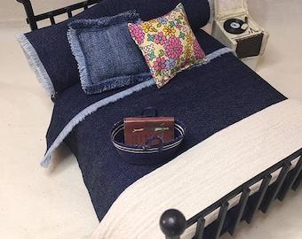 Miniature Dollhouse Duvet Bedding Set -Denim - Queen/Double
