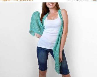 30% OFF Turquoise knit vest Knit long vest Light summer wear Aqua blue vest. Cyan
