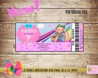"JOJO SIWA Inspiration Birthday Party Ticket Invitation Personalized Printable 3"" x 7"" Digital File"