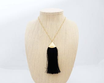 Long Black and Gold Tassel Necklace