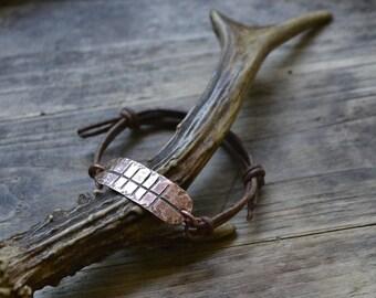 Leather bracelet, men's bracelet, mens bracelet, copper and leather bracelet, ogham jewelry, ogham bracelet, celtic jewelry, copper bracelet