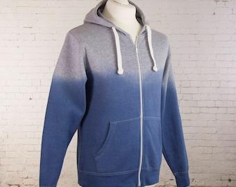 Hoody hand dyed ombre gradient hoodie zip up hooded sweatshirt hoodie for women zip up hoodie dip dyed hoodie for men ombre hoodie size M