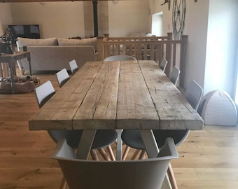 reclaimed industrial chic a frame 6 8 seater dining table grey bar cafe - Rustic Dining Table