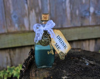 Aqua Drink Me Bottle/Mad Hatter Tea Party Decoration/Alice in Wonderland Prop/Drink Me/Wedding Bridal Shower Favor/Steampunk Magic Elixir