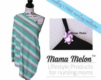 stripe green gray Nursing Cover Nursing Scarf Breastfeeding Cover Up Nursing Shawl Baby Shower Gift Full Coverage Cover New Mama Cover