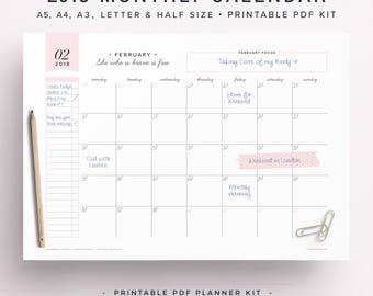 2018 Wall Calendar, 2018 Monthly Agenda, 2018 Monthly Calendar, 2018 Calendar, 2018 Monthly Planner, A3 Calendar, Wall Planner 2018