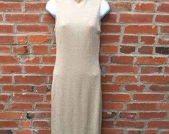 Vintage 90s Gold Ribbed Sleeveless Mock  Neck Dress