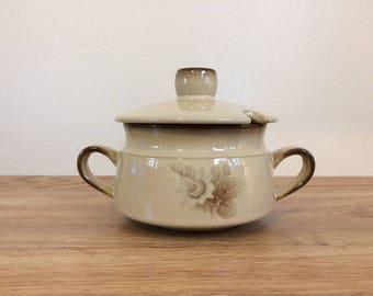 Vintage Denby England Stoneware Memories Sugar Bowl with Lid 1980s