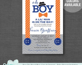 Bow Tie Orange Royal Blue and Grey Baby Shower Invitation Printable, Boy, Baby Shower Invite, Little Man, Gentleman, 4T