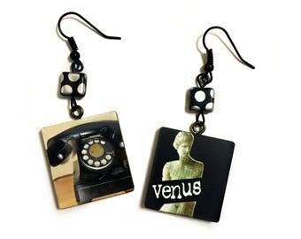 Vintage Rotary Telephone, Venus Sculpture, Goth, Vintage poster, Retro, Geometric, Square, Handmade Beaded earrings,Funky Art, Vintage Flair