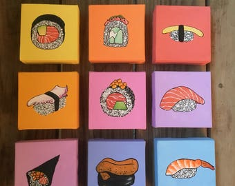 "Yoisho! (よいしょ!) - (9) 4""x4"" Sushi/Sashimi Pop Art Paintings"