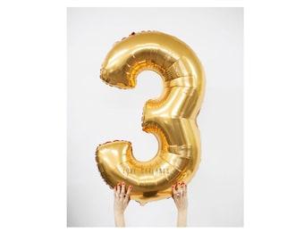 """40"""" Metallic Gold Number Balloon, 40 Inch Gold Balloon, Giant Gold Number Balloon, Giant 3 Balloon, Number Three Balloon, 40"""" Three Balloon"""