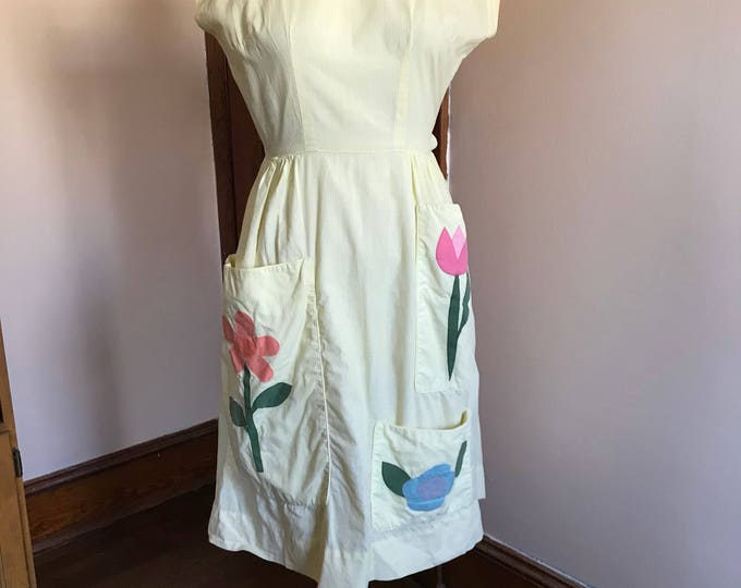 Featured listing image: 50s Full Apron, Vintage Apron, Full Coverage, Swirl, Yellow, White, Pinstripes, Flowers, Applique, Kitchen Apron, Smock, 1950s, Cap Sleeves