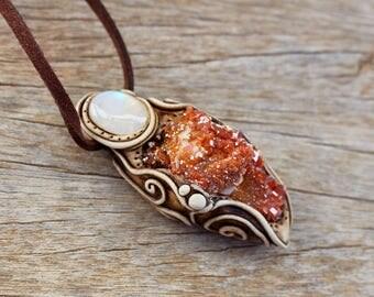Vanadinite and Rainbow Moonstone Pendant , Mineral Specimen , Boho Jewelry , Faerie Necklace OOAK FREE SHIPPING
