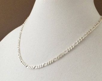 """Sterling Silver Figaro Necklace 18"""" x 5mm"""