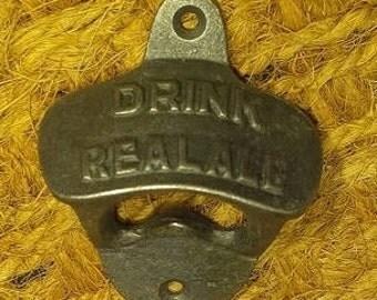 "Cast Iron Bottle Opener ""Drink Real Ale"""
