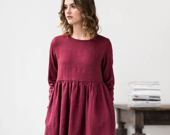 Linen loose dress with long sleeves / Washed and soft linen dress / Maxi linen dress available in 34 colors