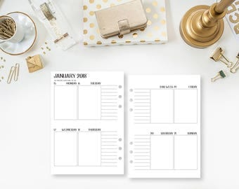 Personal Wide 2018 Weekly Vertical printed planner calendar - Wo2P - week on two pages - week layout - Monday Start