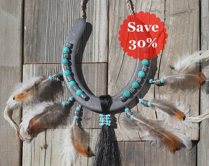 Featured listing image: Horseshoe Art - Southwestern Decor - Horseshoe Decor - Western Decor - Native American Decors - Decorated Horseshoes American Indian Decors