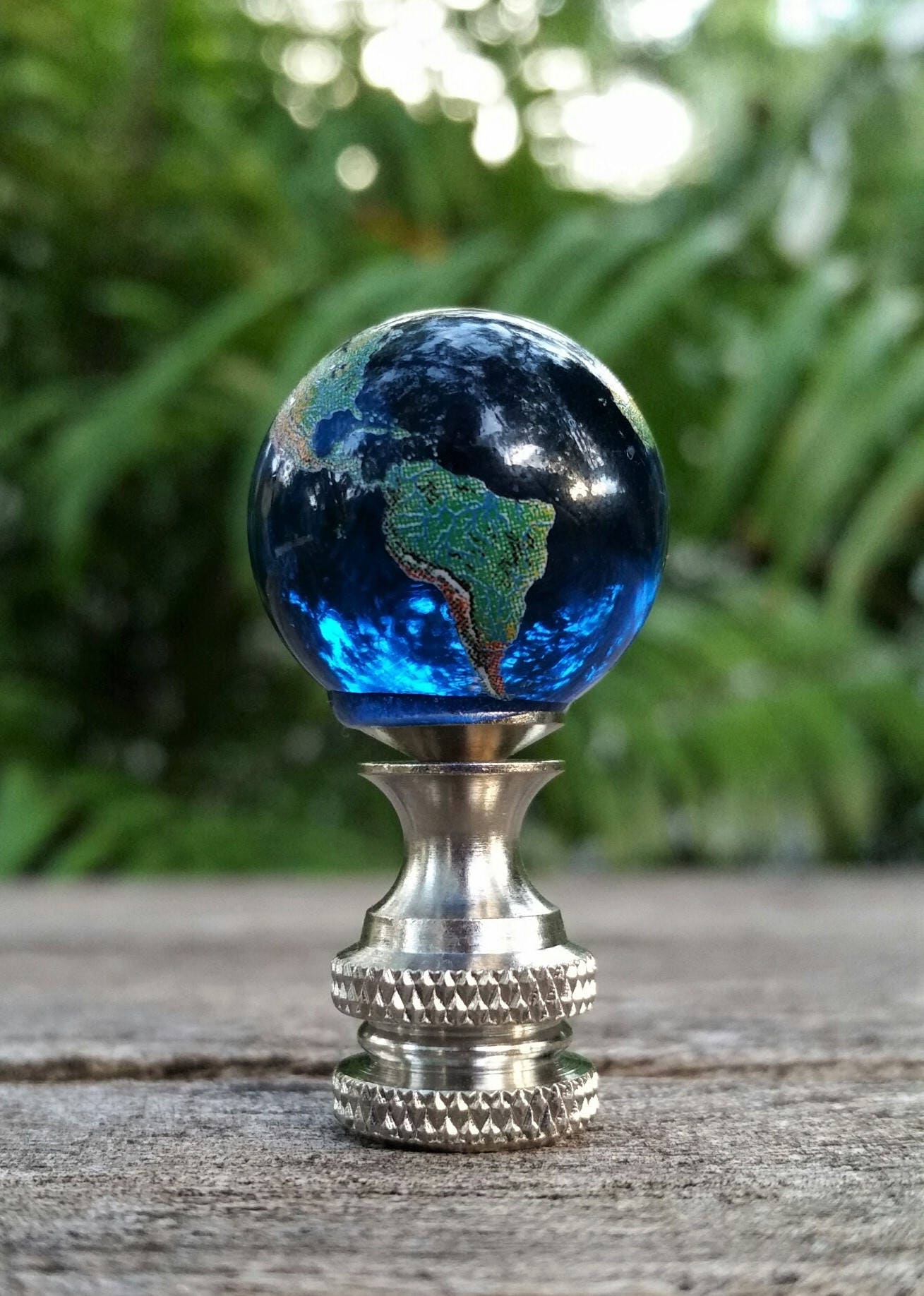 Finial Lamp Blue Glass Globe Round Marble Lampshade