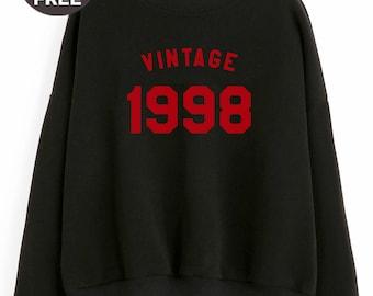 Vintage sweatshirt 20th birthday gifts graphic sweatshirt birthday sweater 1998 shirt year of birth funny women sweatshirt men sweater teen