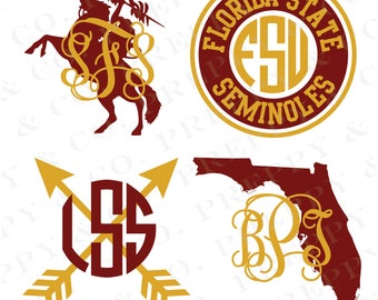 FSU Vinyl Decal - Monogram Florida State Sticker - Florida State University