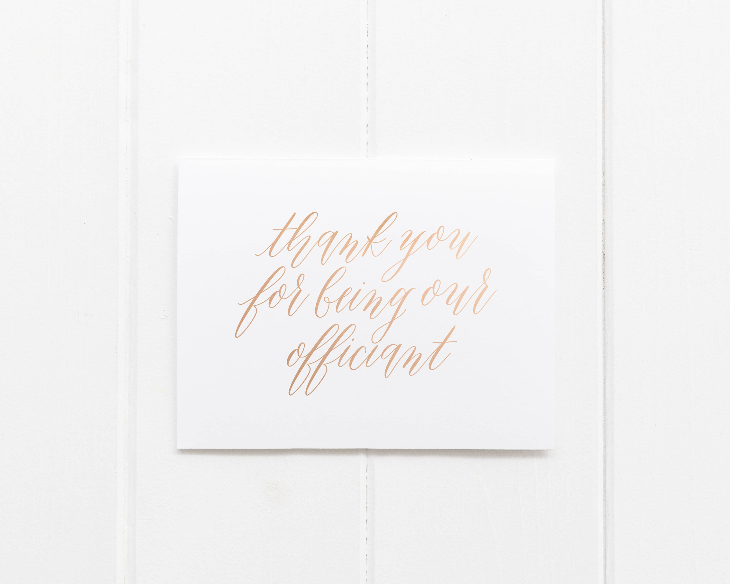Thank You For Being Our Officiant Card Thank You Wedding Card