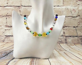 Necklace heart, glass bead necklace, colorful necklace, Crystal Heart Necklace, long necklace sweater chain, multi colored, Pearl Necklace