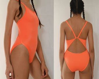 ORANGE SWIMSUIT -one piece, monokini, neon, cyber, sexy, rave, party, festival, summer, beach-