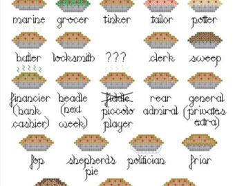 PATTERN - Mrs. Lovett's Meat Pies - Sweeney Todd Inspired Cross Stitch Pattern