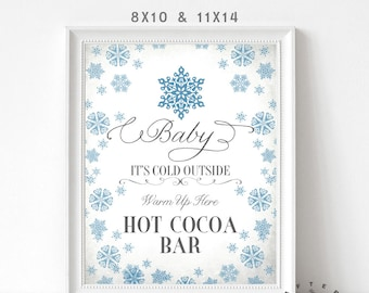 """Hot Cocoa Bar Sign 11x14"""" + 8x10"""" //  Hot Chocolate Bar Sign Blue Gray Vintage Baby Its Cold Outside INSTANT DOWNLOAD No.604"""