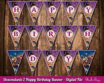 Descendants 2 Birthday Banner - Instant Download - DIY, Digital - Printable Descendants Banner