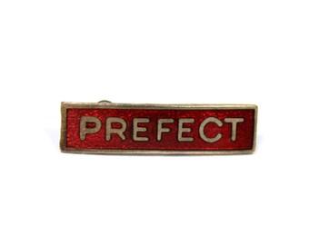 Vintage small red prefect pin, prefect badge, red enamel prefect brooch, school gift, geek chic, British, Gryffindor, Hogwarts, rectangle