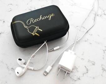 Black Headphone + Phone Charging Cords Travel Case: Gold Foil Recharge Design